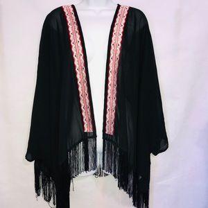 Cato Boho Fringe Kimono Black 26/28W
